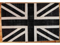 BRITISH FLAG BLACK PATCHWORK overdyed rug