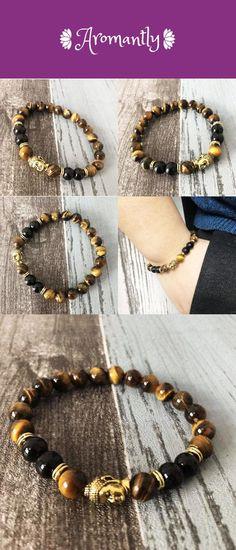 Good Fortune Bringing Black Tourmaline And Tiger Eye Buddha Bracelet For Men - Bead Bracelets Tiger Eye Jewelry, Tiger Eye Bracelet, Bracelets For Men, Beaded Bracelets, Buddha Beads, Good Fortune, Black Tourmaline, Eyes, Stuff To Buy