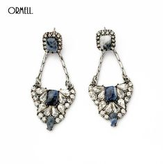 ORMELL 2016 Trendy Roman Style Long Retro Crystal Geogemtric Dangle Earrings Fashion Jewelry For Women Gift #2016fashionjewelry #ldangleearrings