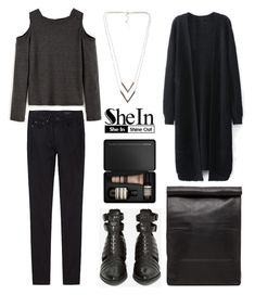 """DARK GREY OPEN SHOULDER KNIT T-SHIRT"" by eva-jez ❤ liked on Polyvore featuring THEM ATELIER, Stampd, Aesop and NLY Accessories"