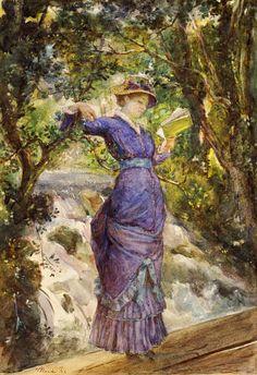 """""""Lesendes Mädchen am Wasserfall"""" (1882) von Maria Konstantinova Bashkirtseva (geboren am 24. November 1858 oder 1860 in Gawronzi bei Dykanka, Gouvernement Poltawa, Russisches Kaiserreich, heute Oblast Poltawa, Ukraine, gestorben am 31. Oktober 1884 in Paris), russische Malerin des Naturalismus."""