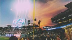 THINK BLUE: sunset sneaking into Dodger Stadium by ajkrappmanphoto