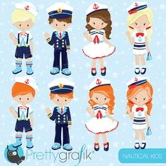 80% OFF SALE Nautical Kids clipart by Prettygrafikdesign on Etsy