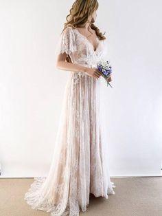 f68d8e725a A-line Rustic Wedding Dress V neck Short Sleeve Lace Wedding Dress AMY1767