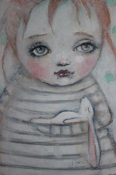 original girl child portrait bunny primitive painting by fadedwest, dreamland