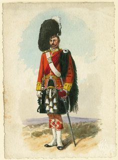 British; Princess Louise's(Argyll & Sutherland Highlanders), Officer, Review order, 1895 by R.Simkin.