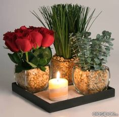 A modern yet delicate flower arrangement designed in three glass votives and an onix candle. Deco Floral, Arte Floral, Floral Design, Succulent Centerpieces, Candle Centerpieces, Candles, Centerpiece Ideas, Flower Arrangement Designs, Flower Designs