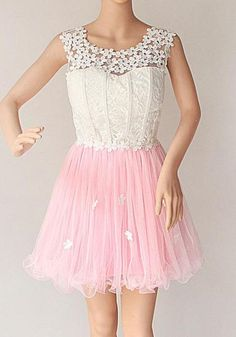 Pink Patchwork Hollow-out Lace Grenadine Appliques Round Neck Mini Dress