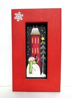 Winter Snowman with Red House and Pine Tree Hand Painted