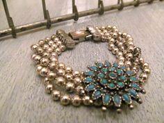 Vintage Silver Beaded & Turquoise Bracelet by bigyellowvintage, $40.00