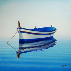 night paintings of boats on the water | Fishing Boat II Painting by Horacio Cardozo - Fishing Boat II Fine Art ...