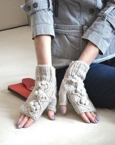 Fingerless mittens Handknit mittens Beige mittens Knit gloves Fingerless gloves Hand warmers Wrist warmers Knit arm warmers Gift for her by DinaStyleKnits on Etsy
