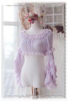 Infanta Detachable Set-in Hime Sleeves Chiffon Lolita Short Version Blouse - My Lolita Dress