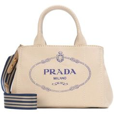 Prada Printed Canvas Tote ($1,010) ❤ liked on Polyvore featuring bags, handbags, tote bags, beige, pink canvas tote, tote handbags, pink handbags, canvas totes and canvas purse