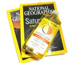Making art papers with Citra Solv and National Geographic magazines.
