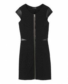 Robe stretch en jacquard reliefé et à empiècements en cuir - Robe - Femme - The Kooples