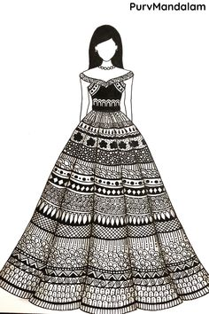 Dress Design Drawing, Dress Design Sketches, Art Drawings Sketches Simple, Fashion Design Drawings, Pattern Design Drawing, Fashion Design Sketchbook, Dress Drawing, Doodle Art Drawing, Easy Doodle Art