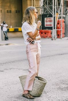 spring outfit, summer outfit, casual outfit, comfy outfit, office outfit, work outfit, street style, street chic style, fashion week outfit, summer trends 2016 - white short sleeve shirt, blush crop pants, leopard print flat mules, round sunglasses, straw tote bag
