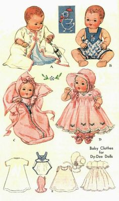 """VINTAGE 11"""" DY DEE BABY DOLL CLOTHES Pattern 513"""