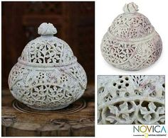 Natural Soapstone Handcarved Jar from India - Elephant Luxuries   NOVICA