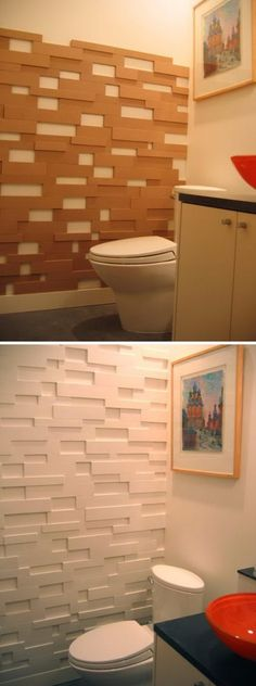 Accent Wall Ideas - An accent wall surface can be a fantastic addition to a living room, whether you intend to separate a huge space, or just add an interesting layout aspect. 28 Bathroom Wall Decor Ideas to Increase Bathroom's Value Diy Wand, Mur Diy, Fake Brick, Wall Design, House Design, Ideias Diy, Bathroom Wall Decor, Room Decor, Bathroom Ideas