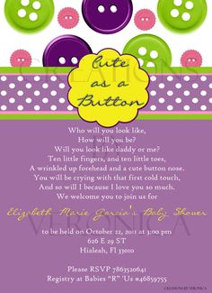 cute as a button baby shower invitation by