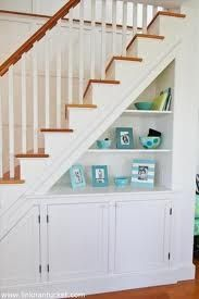 Creative Ways To Use Space Under Stairs Full Creative Ways To Use The Space Under Your Stairs Home Creative Ways To Use Staircase Space - prlinkdirectory Stair Shelves, Staircase Storage, Storage Under Staircase, Basement Storage, Under Staircase Ideas, Hallway Storage, Bookshelves, Bookcase, Space Under Stairs