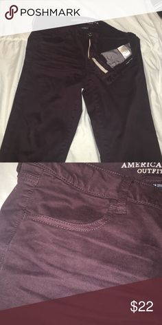 AE Purple Sateen Jeggings Dark purple Jeggings from American Eagle in their sateen line. These are so soft and comfortable but sadly they just don't suit my body. They've only been worn once. The pockets in front and back are actual pockets. American Eagle Outfitters Jeans Skinny