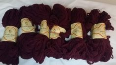 Check out this item in my Etsy shop https://www.etsy.com/listing/220214754/6-skeins-all-virgin-wool-yarn-burgandy-2