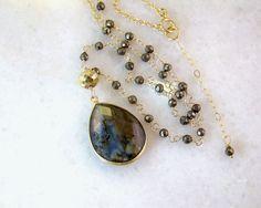 Labradorite Pyrite Wire Wrapped Gemstone Pendant Necklace- Rosary Style- 14K GF- 24K GV Artisan Handmade Jewelry- Her