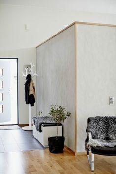 timber trim, polished concrete walls, parquet & concrete tiles