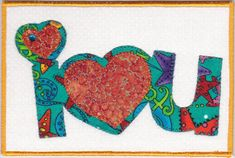 I Love You Quilted Fabric Postcard by zizzybob on Etsy
