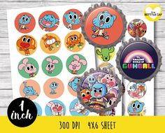 50% OFF SALE 45 Amazing World Of Gumball Bottle cap-Amazing World Of Gumball  1…