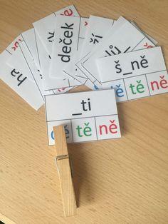Produkt - DĚ, TĚ, NĚ - kolíčkové karty Montessori, School, Literacy Activities, Infant Learning Activities, Dyslexia