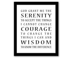 Serenity Prayer, Christian Typography, Home Decor, Inspirational Quote, Serenity, Courage, Wisdom, Printable Art,  INSTANT DOWNLOAD