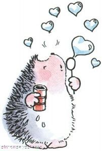 *Penny Black Rubber Stamp LOVE BUBBLES Hedgy 2556j