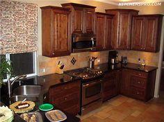 Rich Macchiato Kitchen Cabinets   Kitchen Pro -- Love the color - love different sizes- love appliances
