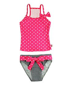This Pink Polka-Dot Zigzag Tankini - Infant, Toddler & Girls is perfect! #zulilyfinds