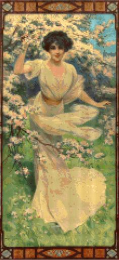SPRING LOVE~counted cross stitch pattern #1905~VICTORIAN SCENES Chart