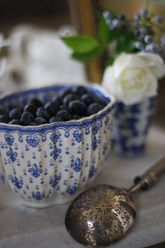 Lovely Blueberries in a blue bowl. I am a poet and I know it! :)