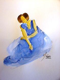 """""""Blaue Bewegung 2"""" Painting by Emo Schuschnig, Eichenau"""