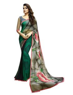 Refreshing Green And Gray Coloured Georgette Printed Indian Designer Saree At Best Price By Uttamvastra - Try Something New Today Sari, Saree Dress, Fancy Sarees, Party Wear Sarees, Fashion Looks, Indian Sarees Online, India Fashion, Saree Fashion, Fashion Hub