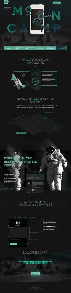 Love this dark grey and green color scheme in this iPhone app one pager for 'Mooncamp' - a stylish Basecamp tool to manage clients. I can't help but think the design should span 100% width especially that top dark gap. There are some beautiful infographics and moving elements that subtly animate as you scroll down. Also nice touch with the IE warning notice.