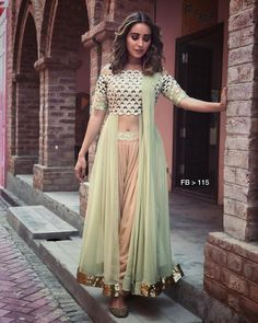 Looking For Ultimate Indo Western Saree Inspirations? We Have Done the Home-work For You! Indian Gowns Dresses, Indian Fashion Dresses, Indian Designer Outfits, Indian Fashion Trends, Girls Dresses, Western Dresses For Women, Western Outfits, Indian Wedding Outfits, Indian Outfits