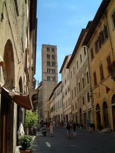 Street and church tower in Arezzo, Tuscany