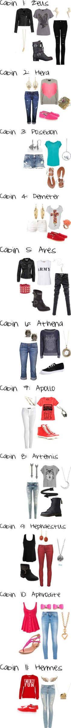 """Camp Half-Blood Cabins"" by kenzie2018 on Polyvore. Why is it not surprising that my fave cabins are also my fave outfits"