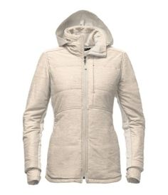 Chase down covered bridges and moose tracks in this long, insulated knit jacket that features stretch-woven panels for improved range of movement. A hood stows inside the collar for added protection, when needed.