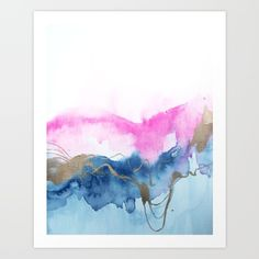 Abstract Watercolor Pink Blue Art Print