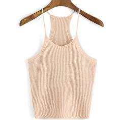 Spaghetti Strap Knit Pale Coffee Cami Top ($13) ❤ liked on Polyvore featuring tops, shirts, crop top, coffee, camisole tops, knit sweater vest, off the shoulder shirts and pink shirt