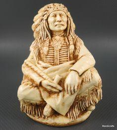 #Castagna Italy #Chief Treasure Box Figurine Skull Native Indian Alabaster 1998